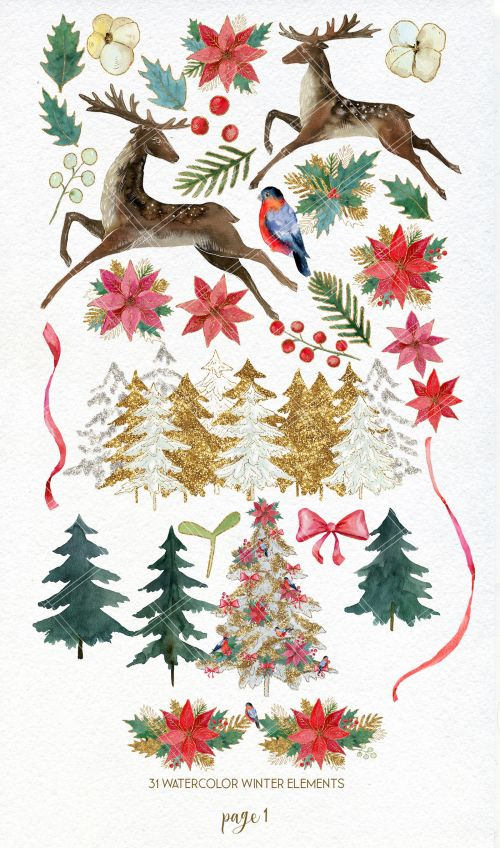 small resolution of  watercolor christmas winter clipart