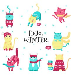 cute cats love the winter clipart [ 1400 x 1400 Pixel ]