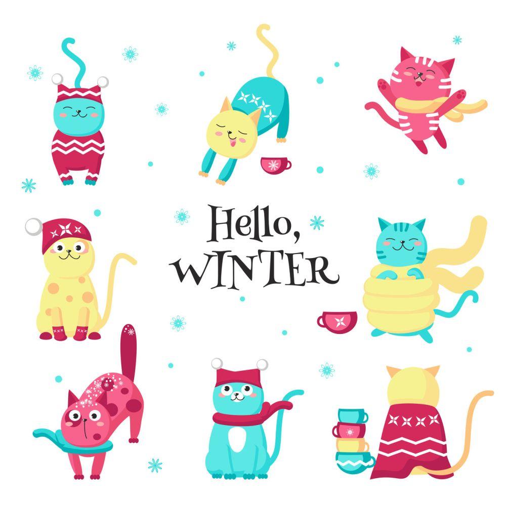 medium resolution of  cute cats love the winter clipart