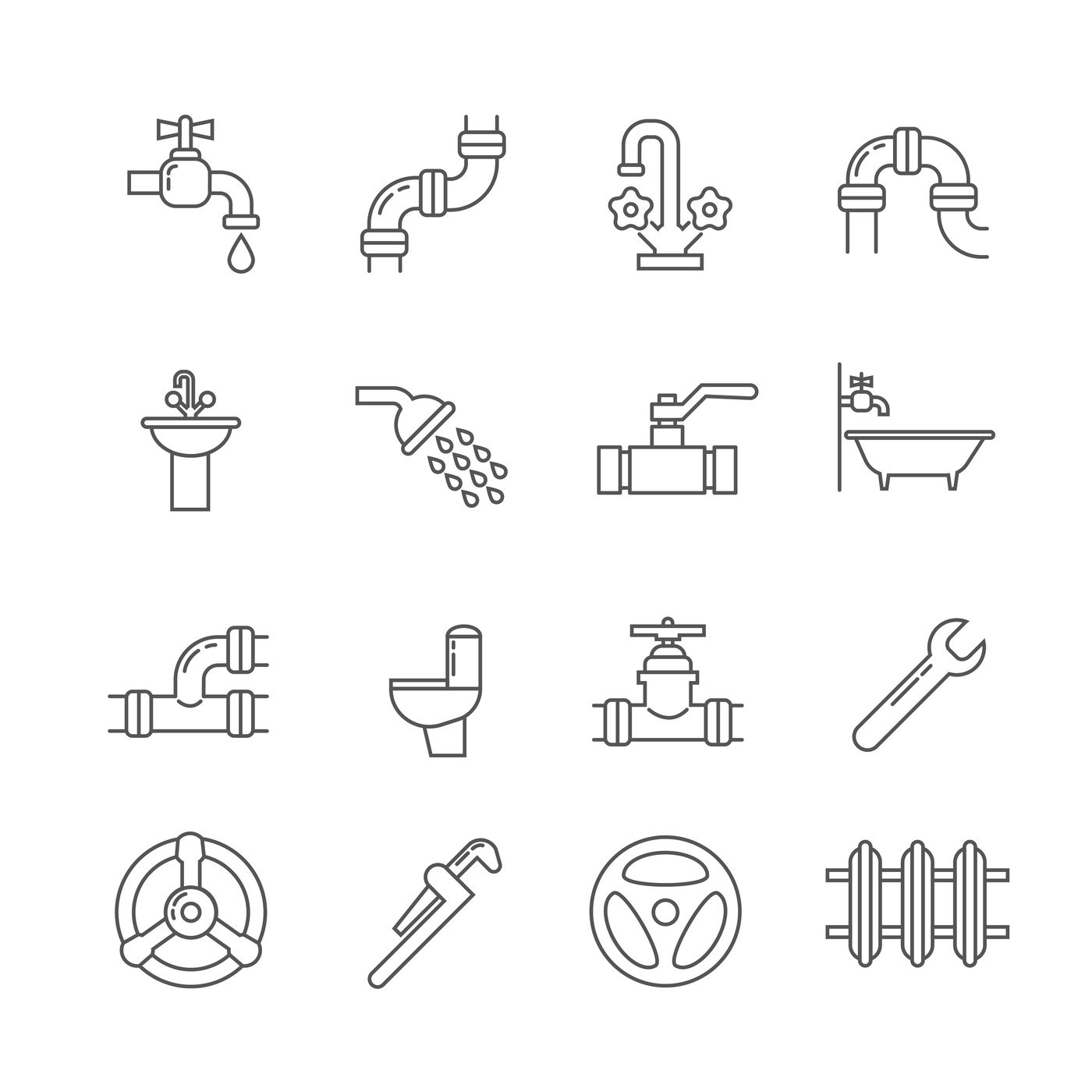 Plumbing, sewerage, pipe, faucet thin line vector icons