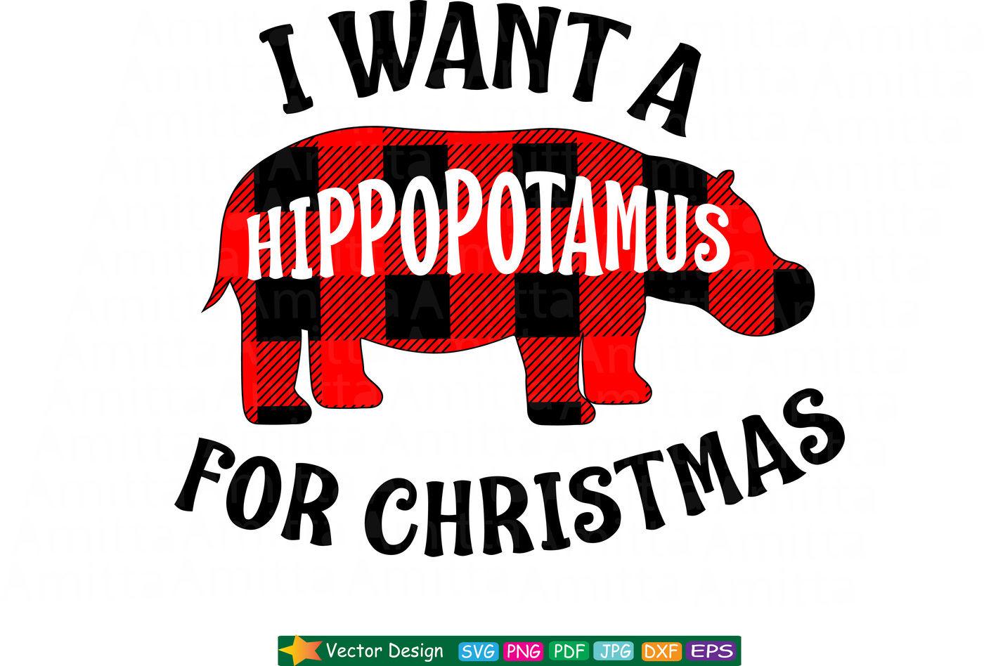340 Christmas Hippo Svg