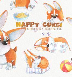 cute watercolor corgi puppy clipart funny dog clip  [ 1400 x 933 Pixel ]