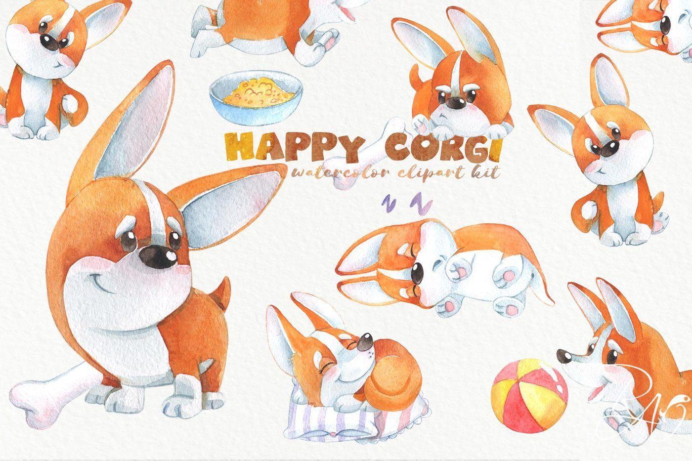 hight resolution of cute watercolor corgi puppy clipart funny dog clip