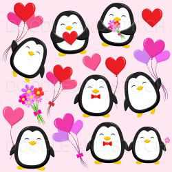 penguin clipart illustrations valentines thehungryjpeg cart graphics