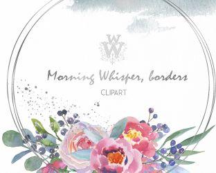 clip watercolor floral wedding blush pink peony boho rose border thehungryjpeg cart wonderwonder