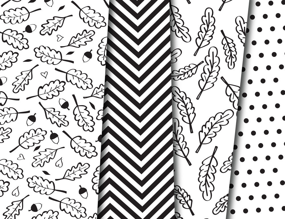 Black and White Happy Fall Foliage Digital Paper Autumn