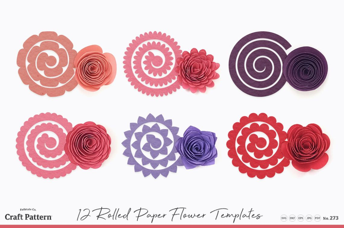 Download Rolled Flower Templates, 3D Flowers - SVG, DXF, EPS, JPEG ...