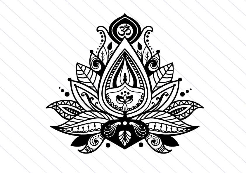 Lotus flower svg vector clipart, yoga svg cut file By