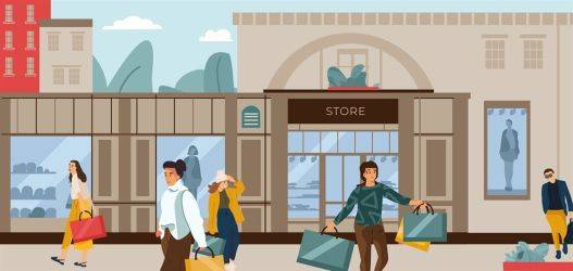 cartoon shopping characters trendy scene boutique vector street illustration background clothing mall shoes thehungryjpeg