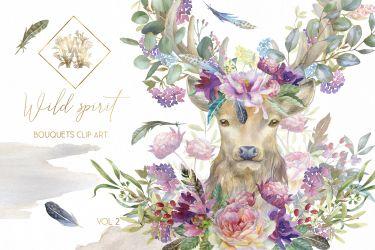 boho clipart clip bouquet watercolor deer floral border borders thehungryjpeg