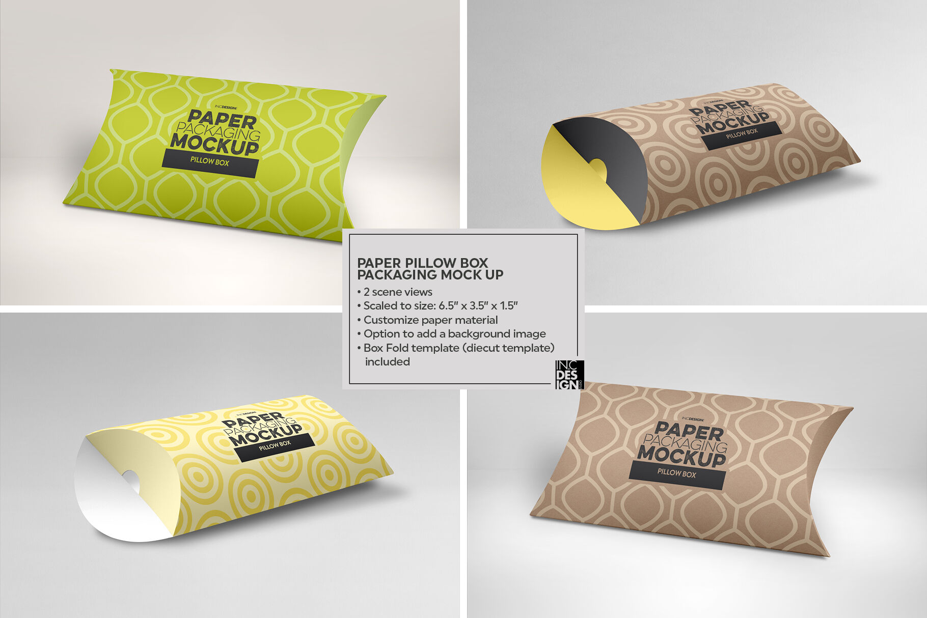 pillow box packaging mockup by inc