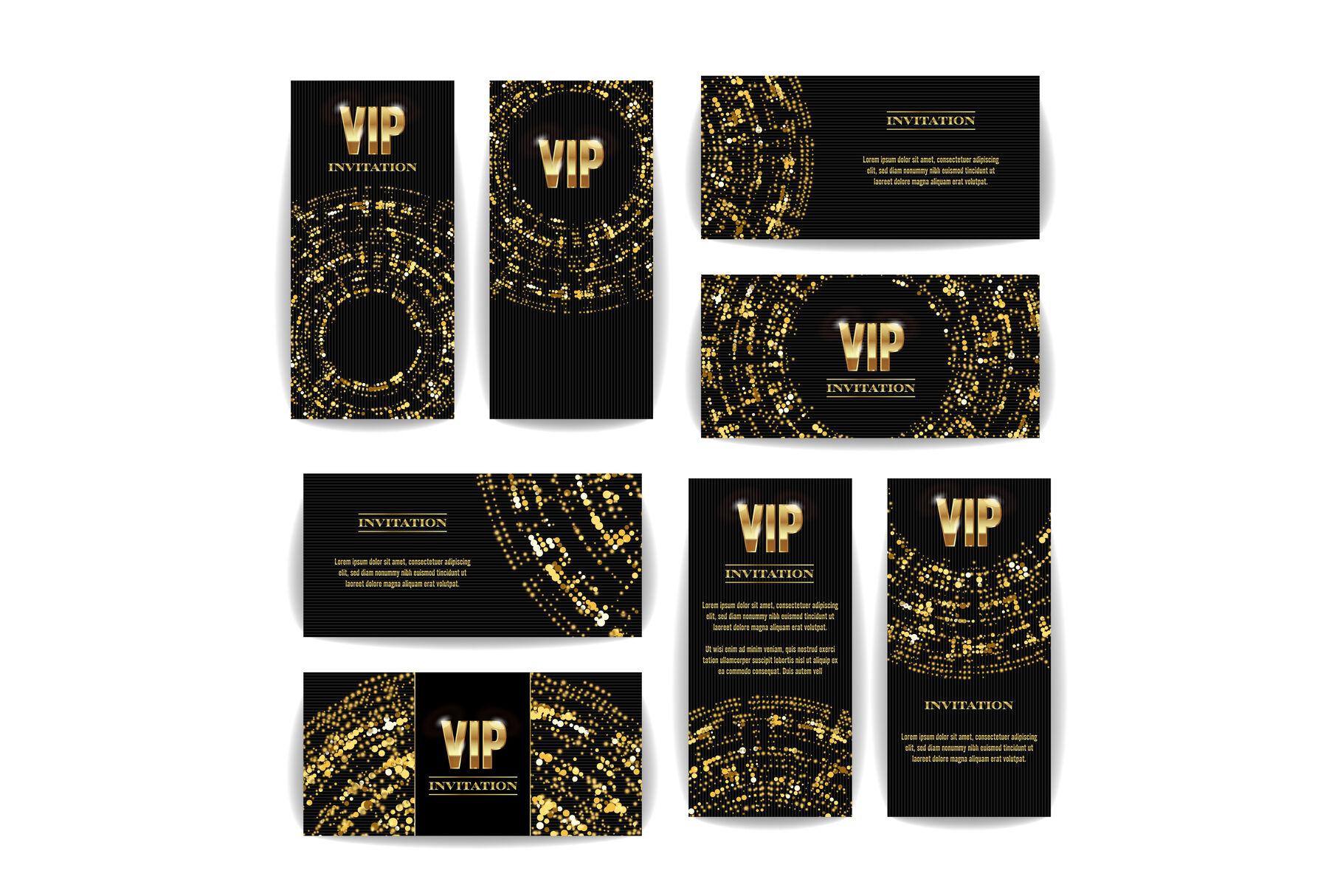 vip invitation card vector set party