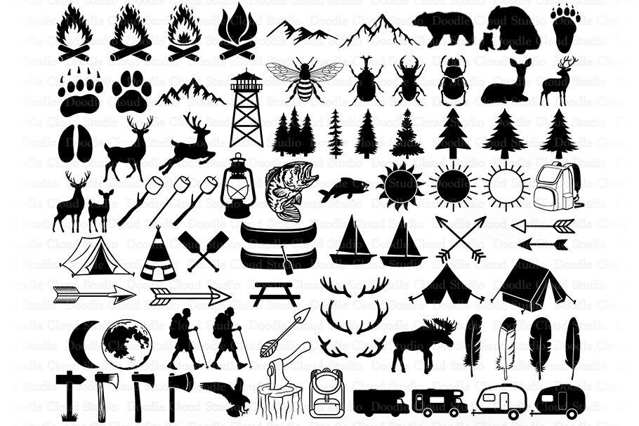 Camping Bundle SVG Cut Files, Summer Camp, Camping Clipart