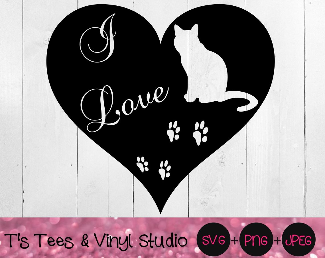 Download Cats SVG, I Love Cats svg, Love Cats svg, Paw Print svg ...