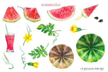 Watercolor pink watermelon slice clipart By Elenazlata Art TheHungryJPEG com