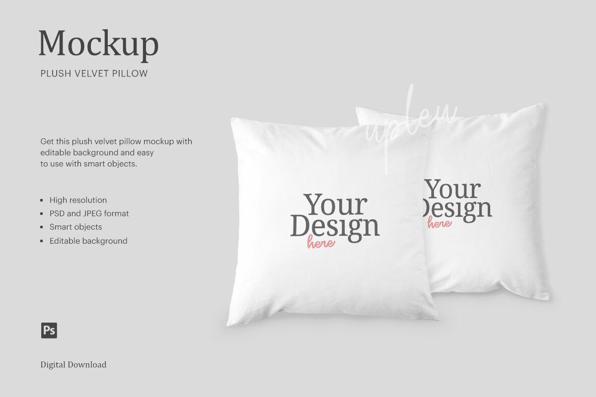 plush velvet pillow mockup compatible