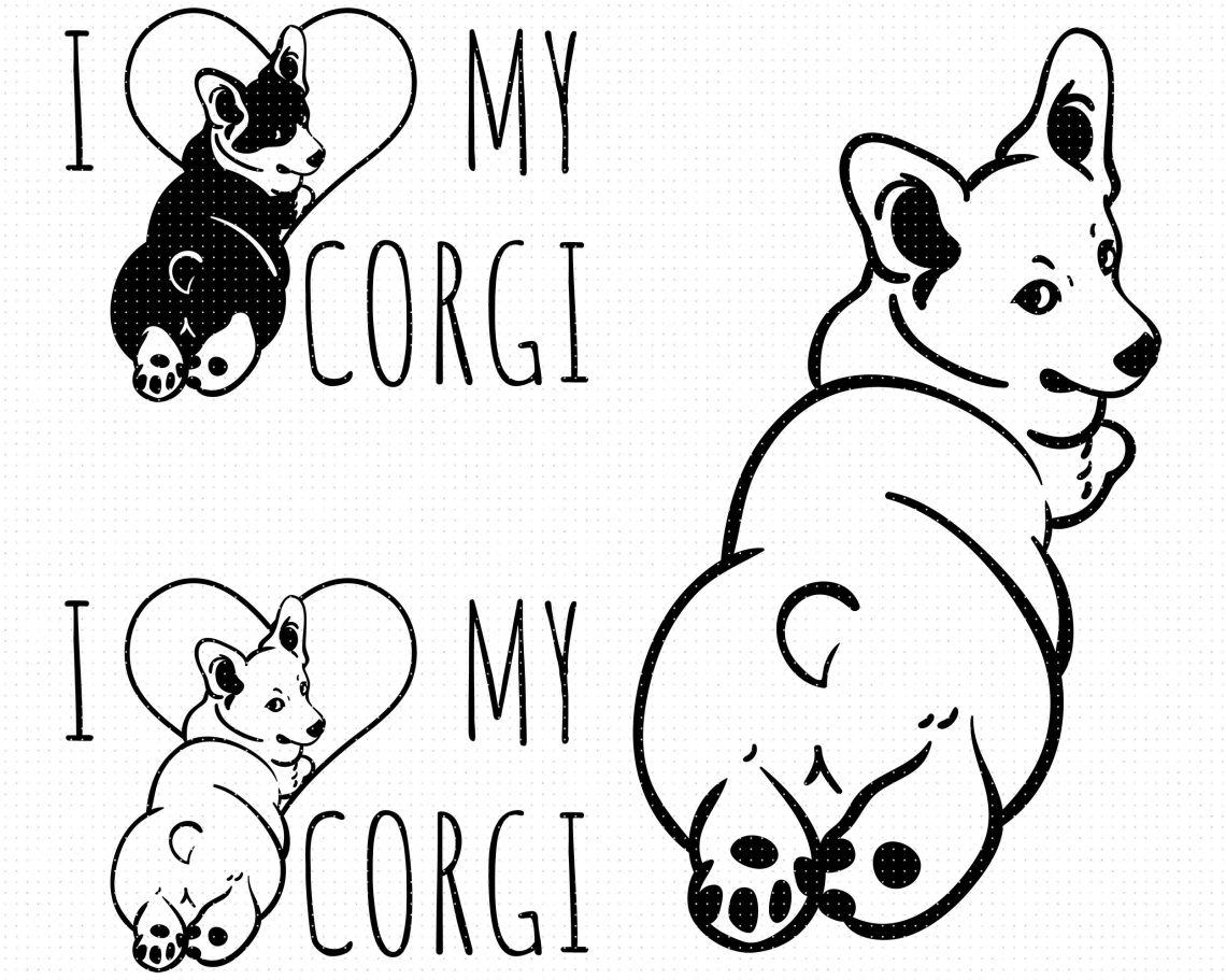 Download i love my corgi SVG, corgi butt PNG, DXF, clipart, EPS ...