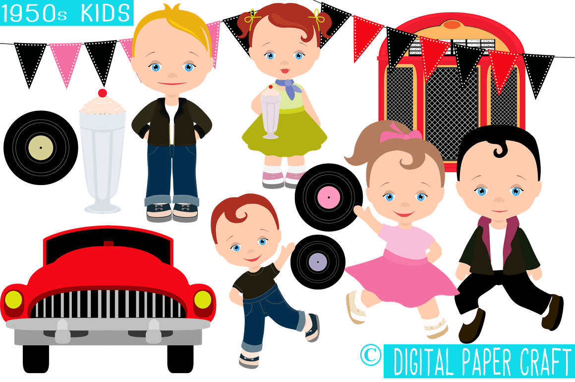 hight resolution of 1950s kids retro clipart 50s clipart rock n