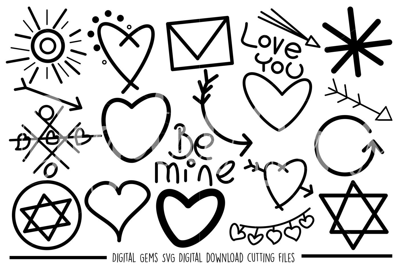 Doodle, Hand Drawn SVG / DXF / PNG Files By Digital Gems