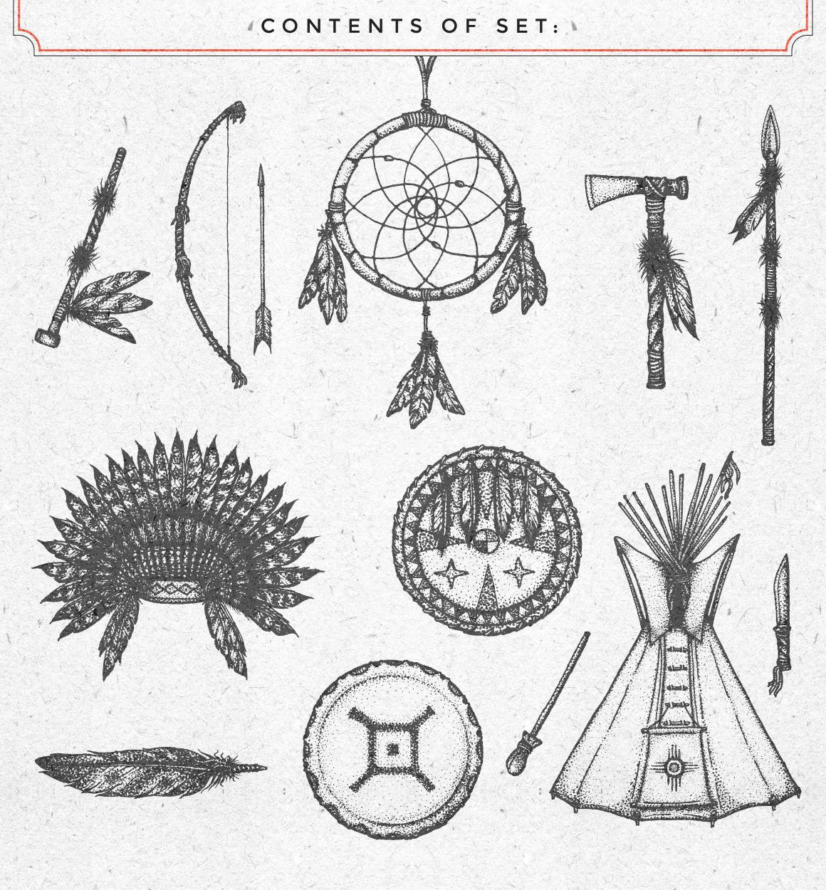 Native American illustrations set By TRIKONA