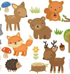 woodland animals digital clipart set for personal and  [ 1400 x 932 Pixel ]