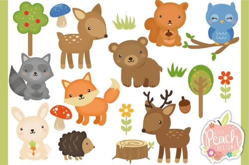 small resolution of woodland animals digital clipart set for personal and