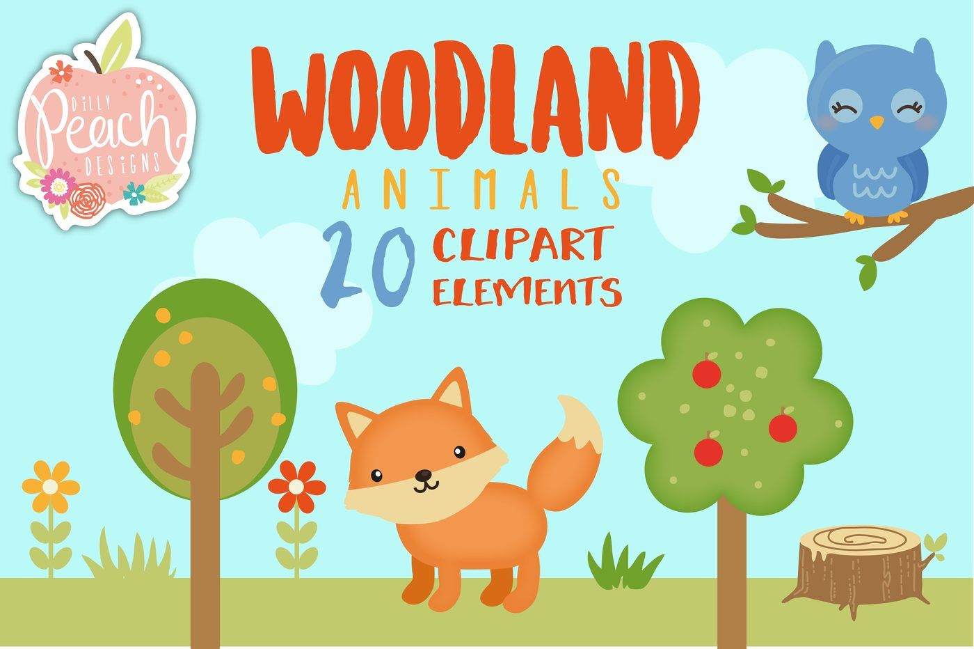 hight resolution of  woodland animals digital clipart set for personal and