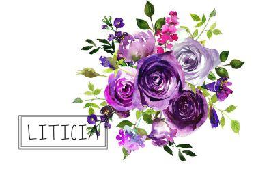 purple clipart flowers watercolor bouquets flower bouquet clip violet floral yellow lavender pink creativemarket whiteheartdesign graphics thehungryjpeg cart wreath
