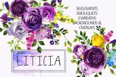purple watercolor clipart flowers violet floral graphic bouquets clip illustrations bundle pink graphics pastel whiteheartdesign thehungryjpeg mint peonies cart