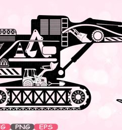 digger excavator silhouette svg file cutting files stickers builders work school construction site clipart building machine bulldozer 558s by hamhamart  [ 1160 x 772 Pixel ]