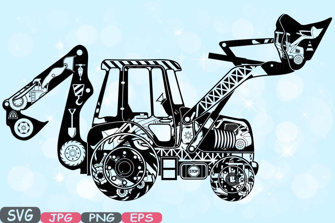 hight resolution of digger excavator silhouette svg file cutting files stickers builders work school construction site clipart building machine bulldozer 562s by hamhamart