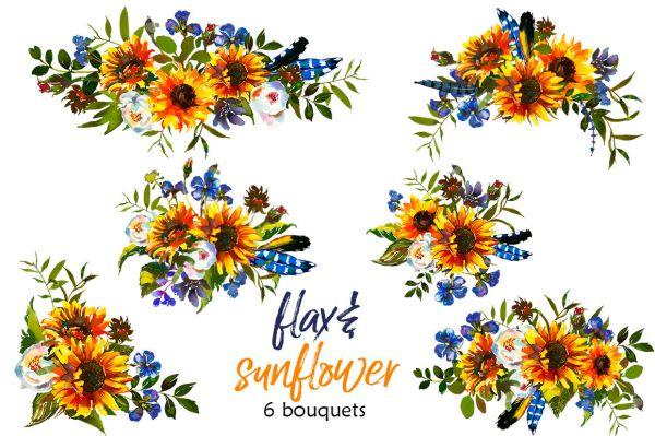 boho sunflower flax flowers bull