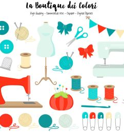 red and blue sewing clipart [ 1160 x 772 Pixel ]