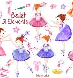 watercolor ballerina clipart  [ 1400 x 933 Pixel ]