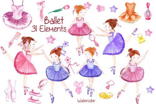 small resolution of watercolor ballerina clipart