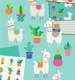 llama and cactus clipart and patterns [ 1400 x 2560 Pixel ]