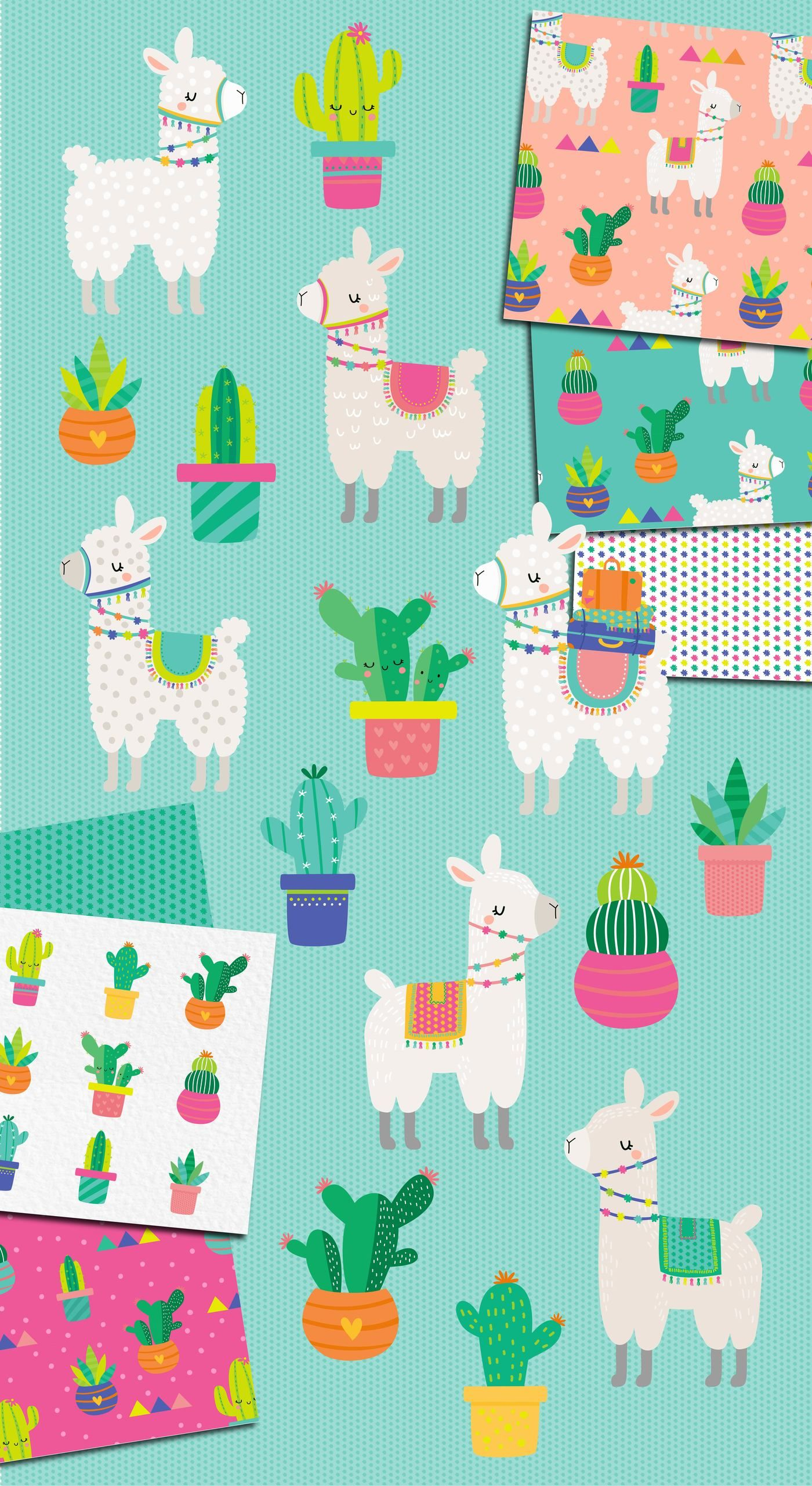 hight resolution of  llama and cactus clipart and patterns