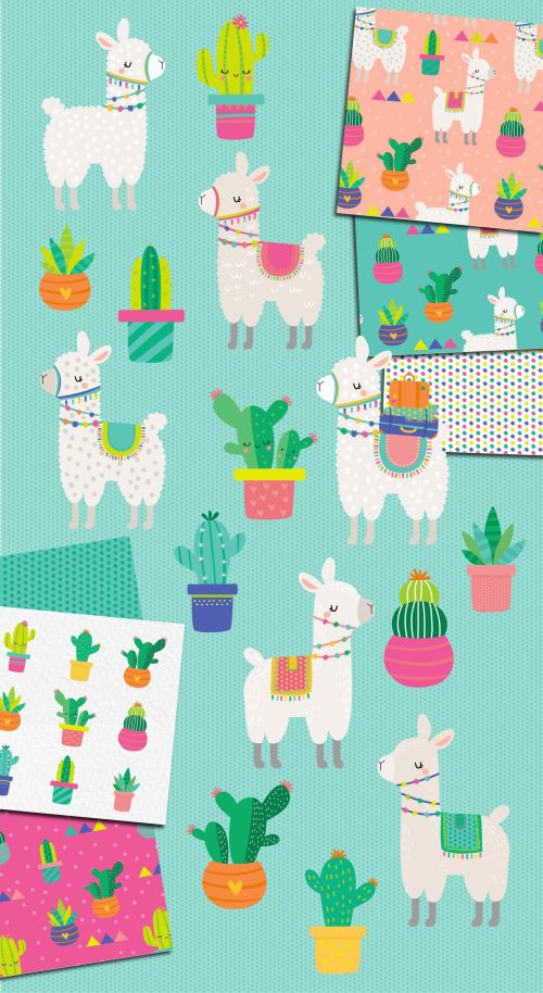 small resolution of  llama and cactus clipart and patterns