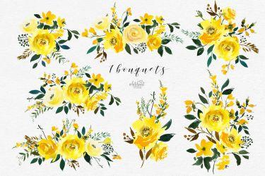 watercolor yellow flowers clip majestic jaune elder thehungryjpeg cart graphics senior activities