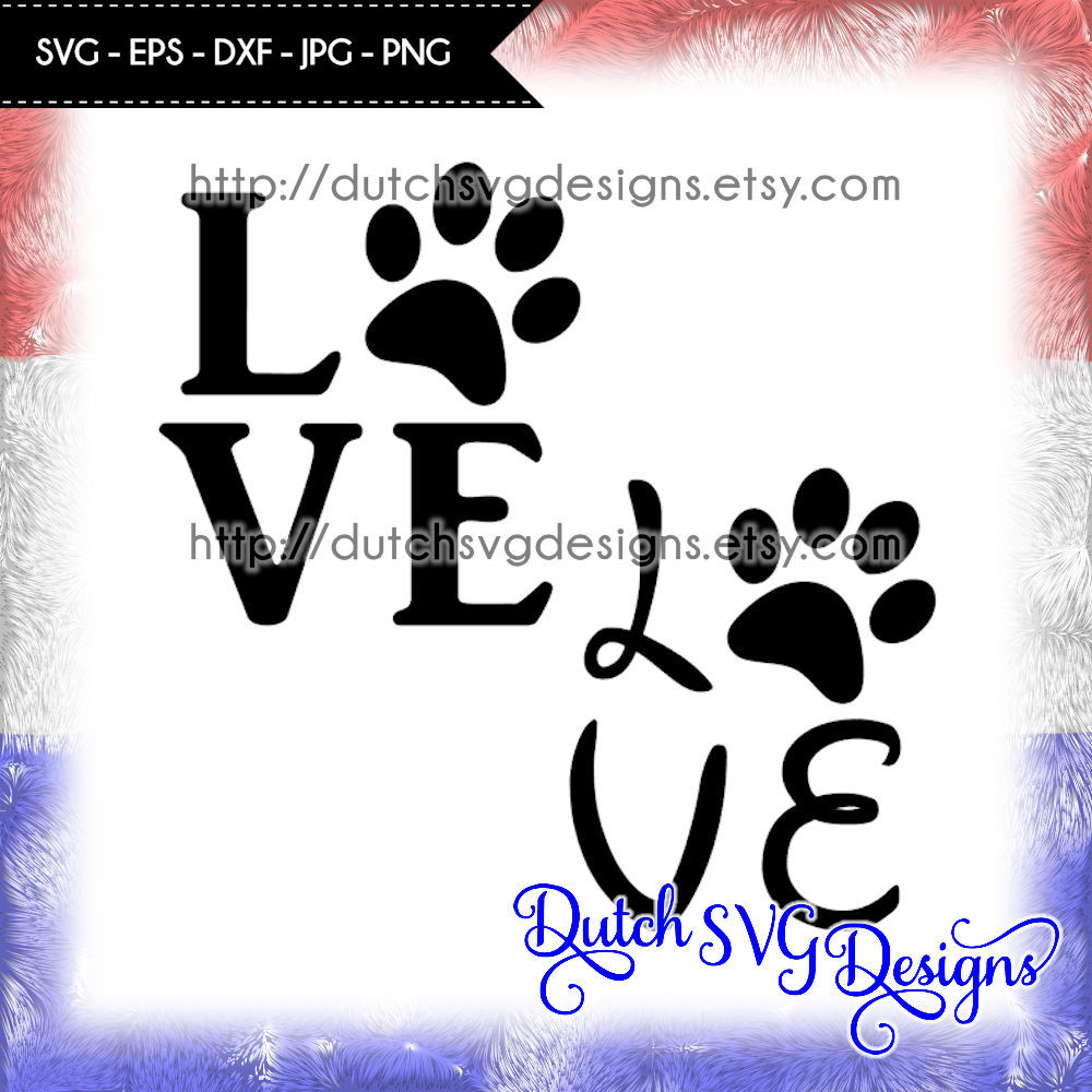 Download Cutting file Love with pawprint, in Jpg Png SVG EPS DXF ...