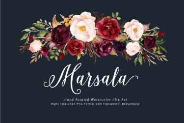 watercolor flower marsala burgundy clip floral flowers navy graphic clipart rustic wedding box graphics creative market project pack creativemarket boho
