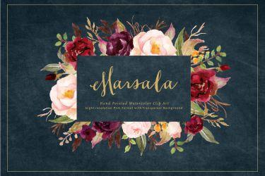 watercolor flower marsala clip burgundy rustic wedding box boho chic graphic thehungryjpeg graphics cart behance