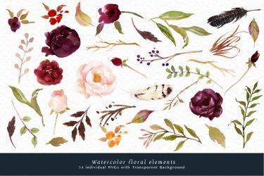 watercolor flower marsala clip flowers background graphic elements box cart transparent thehungryjpeg graphics behance modules