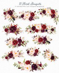 watercolor marsala clip flower graphic box thehungryjpeg cart graphics