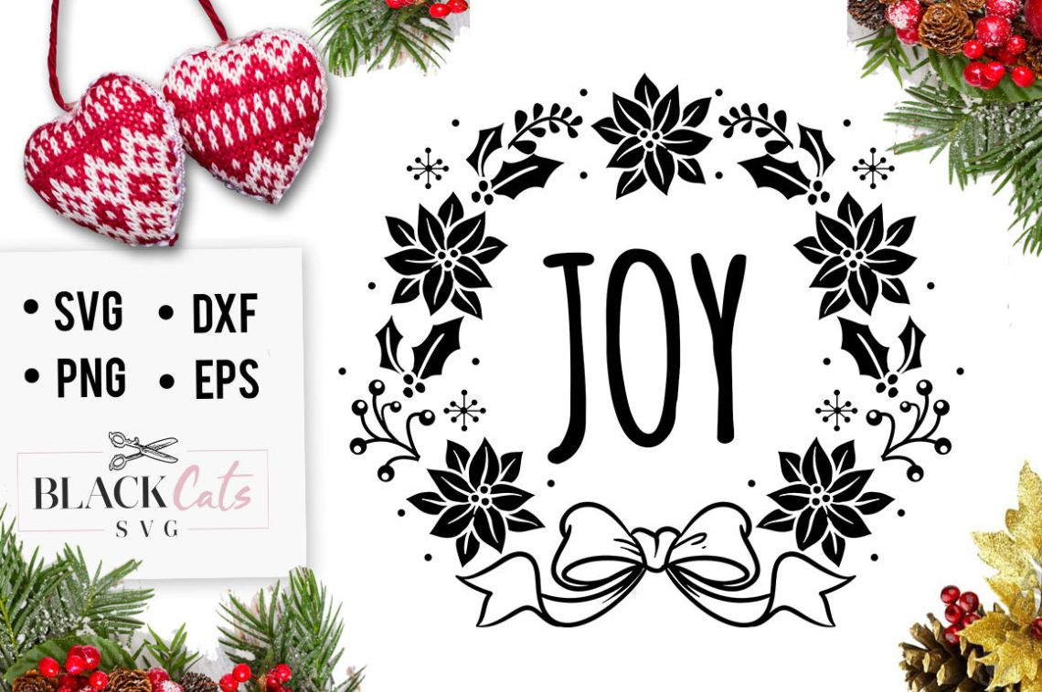 Download Joy - Christmas SVG - wreath By BlackCatsSVG ...
