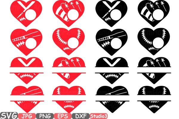 baseball heart split & circle silhouette