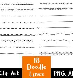 18 doodle lines clipart set 1 text dividers  [ 1160 x 772 Pixel ]