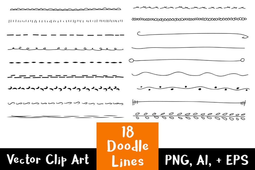 medium resolution of 18 doodle lines clipart set 1 text dividers