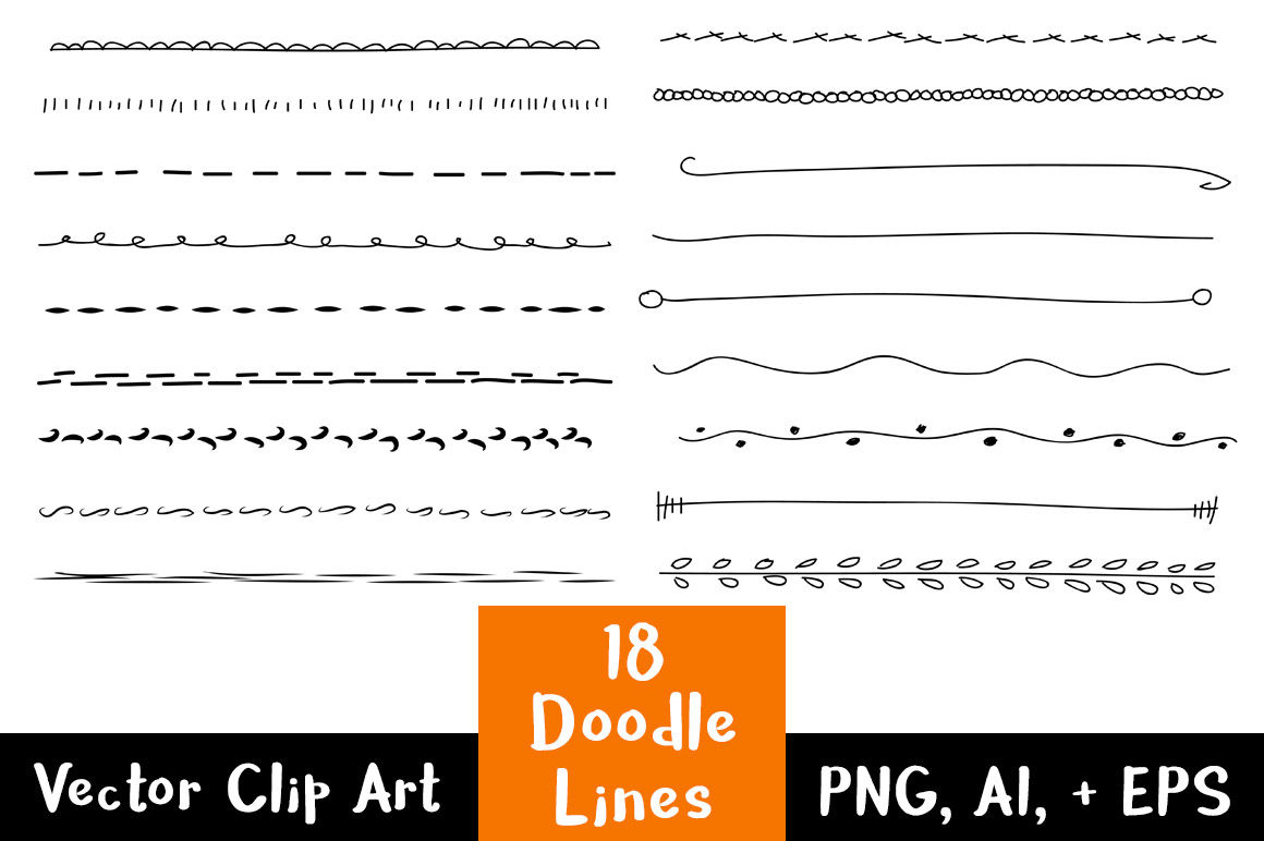hight resolution of 18 doodle lines clipart set 1 text dividers