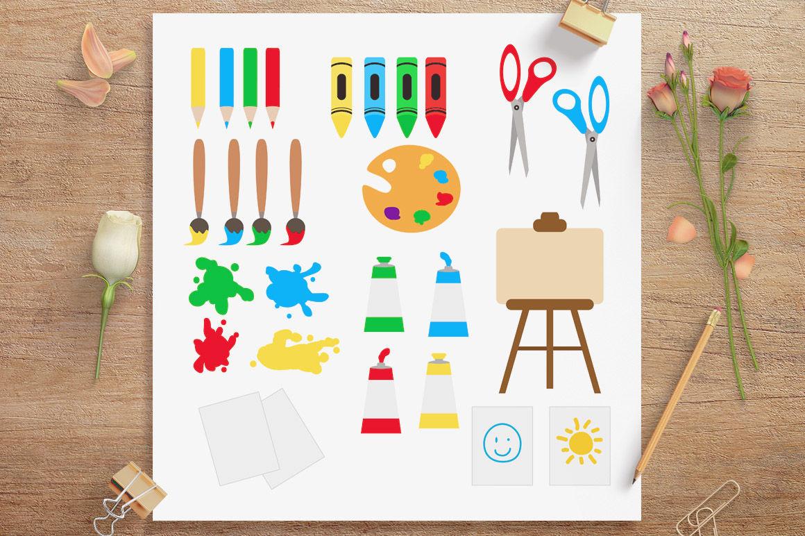 Art Class Clipart School Clip Art Back To School Clipart Art Supplies By Digital Download Shop Thehungryjpeg Com